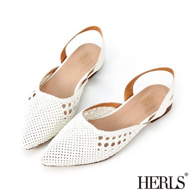 【HERLS】涼鞋-鏤空編織側V尖頭後帶低跟鞋涼鞋(白色)