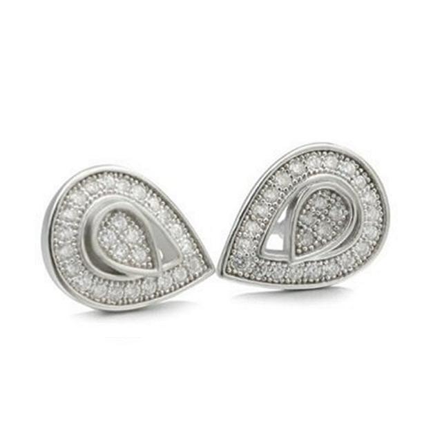 【米蘭精品】925純銀耳環鑲鑽耳飾(精緻小巧水滴設計情人節生日禮物女飾品73dm57)