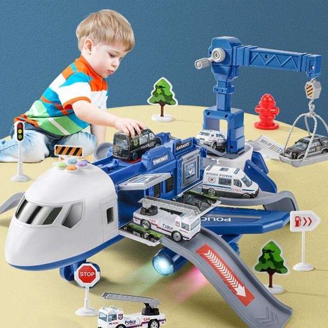 【ego life】兒童玩具超大飛機耐摔益智變形客機 多功能收納玩具車模型(警務 工程 消防系列)