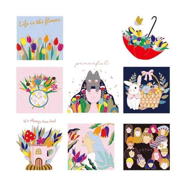【印花美術社】香氛舒壓療癒手繪布好塗顏料組-傘中花園(#香氛 #紓壓 #手繪)
