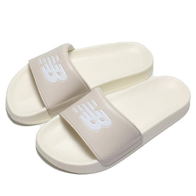 【NEW BALANCE】拖鞋 奶油 白 大LOGO 韓系 海綿 運動 休閒 男女(SD1101IBE)