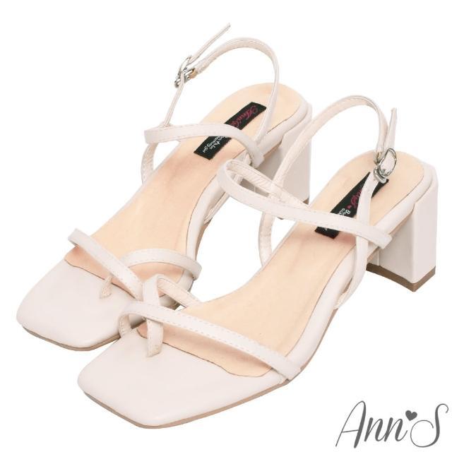 【Ann'S】糖果清甜-細帶交叉套趾側V顯瘦六角粗跟方頭涼鞋6cm(杏)