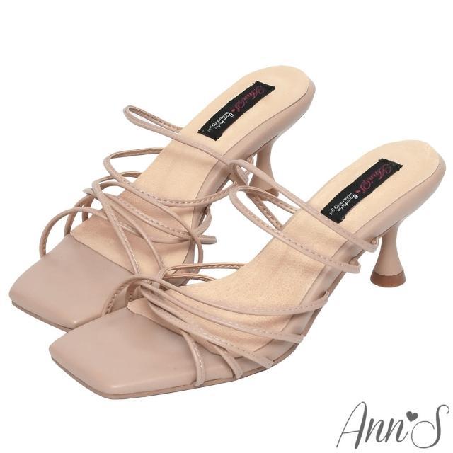 【Ann'S】港風小姊姊-多重細帶酒杯跟方頭涼拖鞋6cm-版型偏小(杏)