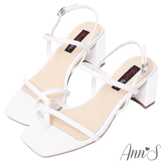 【Ann'S】糖果清甜-細帶交叉套趾側V顯瘦六角粗跟方頭涼鞋6cm(白)