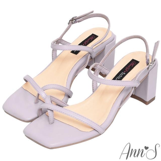 【Ann'S】糖果清甜-細帶交叉套趾側V顯瘦六角粗跟方頭涼鞋6cm(紫)