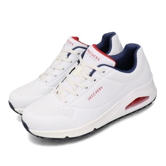 【SKECHERS】休閒鞋 Uno-Stand On Air 女鞋 厚底 增高4公分 氣墊 支撐 皮革 白 藍(73690WNVR)