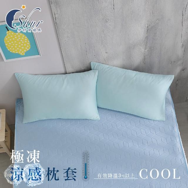 【ISHUR 伊舒爾】極凍涼感枕套2入 台灣製造(兩色任選/枕頭套)
