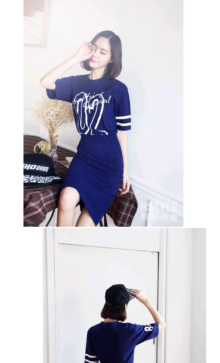 【創翊韓都】連身裙 印花收腰休閒五分袖洋裝JW5559(預購)