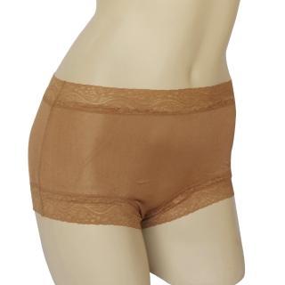 賽凡絲純蠶絲蕾絲平口蠶絲褲-膚色