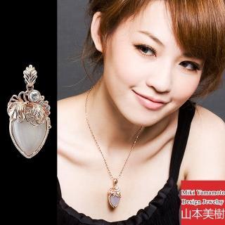 【山本美樹】海棠 白玉玫瑰金水晶項鍊(MIT)