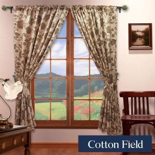 【棉花田】法爾印花仿麂皮穿掛兩用遮光窗簾(270X230cm)
