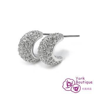 【約克精品】奢華奧地力水晶鑽包銠金不銹鋼針式耳環(SGS認證)