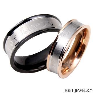 【E&I】 -愛的就是你- 玫瑰金/穩重黑316L白鋼戒單售款
