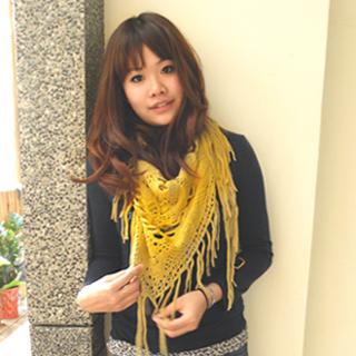【Lus.G】氣質手工毛線編織流蘇二用圍巾/披肩