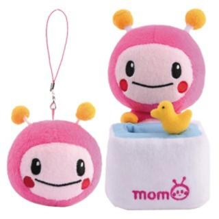 【MOMO親子台】7吋momo絨毛娃娃置物座+2.5吋momo拭鏡吊飾
