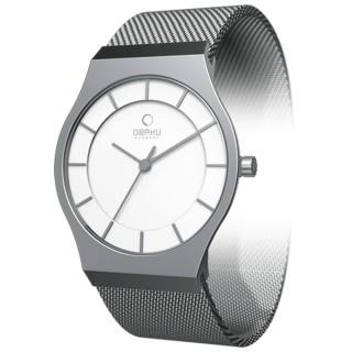 OBAKU 極簡時代優雅時尚腕錶-銀白/小- V123LCIMC