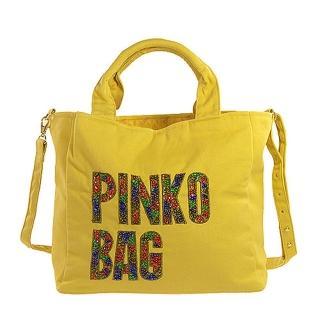 PINKO 經典帆布閃耀LOGO手提/斜肩背包(黃)H44-GLALLO