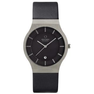 【OBAKU】極簡時代優雅時尚腕錶黑-皮帶-大(V123GCBRB)