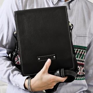 【Roberta Colum】時尚質感鉚釘軟牛皮實用長方形斜背包-黑