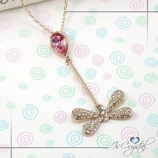 【伊飾晶漾】嬉戲蜻蜓粉晶項鍊