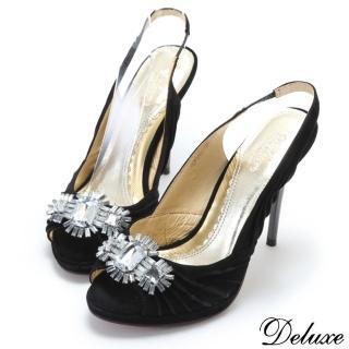 【Deluxe】全真皮閃耀放射水晶寶石麂皮魚口涼跟鞋(黑)