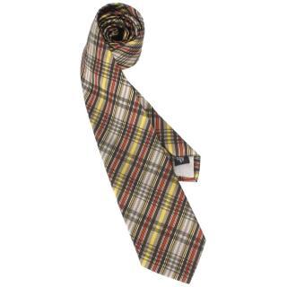 【Vivienne Westwood】新款斜格紋多線條絲質領帶(灰/咖啡)
