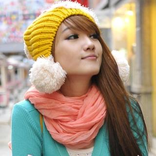 【Lady c.c.】韓版秋冬款純色皺褶加大圍巾(粉膚)