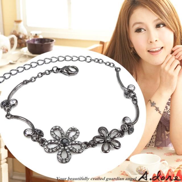 【A.dore】絢麗五瓣水晶花葉˙鑽飾手鍊(黑金˙銀灰鑽)特價