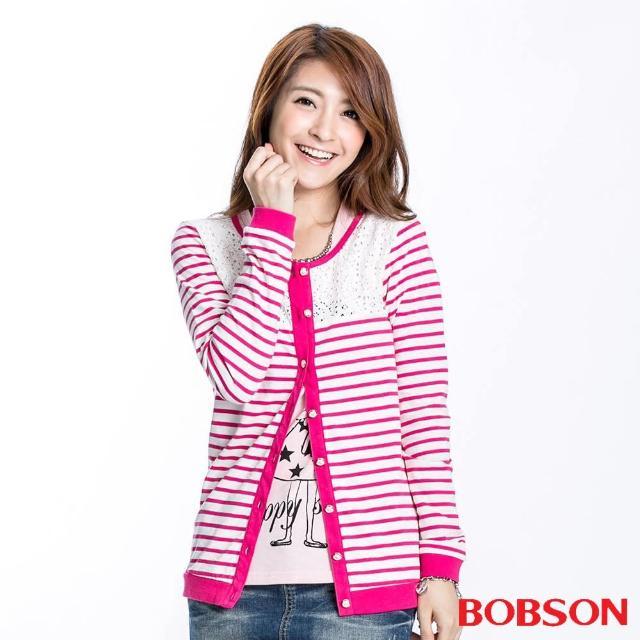 【BOBSON】女款蕾絲條紋長袖薄外套(桃紅23122-15)