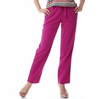 【Delicacy】時尚超顯瘦麻紗長褲(紫紅色)