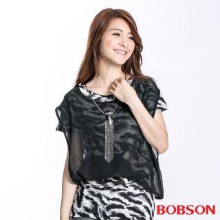 【BOBSON】女款仿兩件式雪紡短袖上衣(黑23127-88)