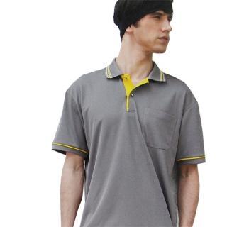 【per GIBO】條領灰底鳥眼排汗短袖男POLO衫(D13506)