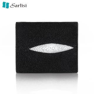 【Sarlisi】經典百搭珍珠魚真皮短夾(短夾-黑色)