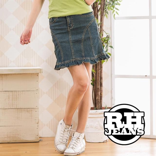 【RH】修飾腰身小荷葉牛仔短裙(活力藍)