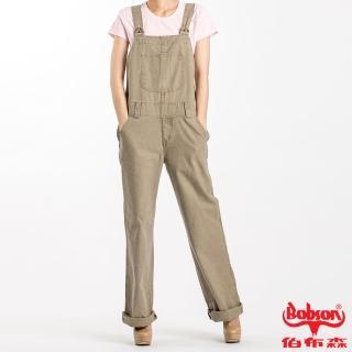 【BOBSON】女款低腰半舊吊帶長褲(卡其72)