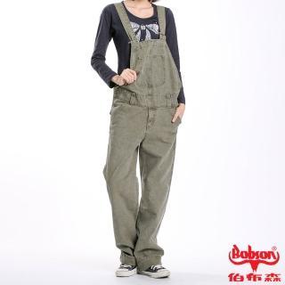 【BOBSON】女款低腰半舊吊帶長褲(橄欖綠41)