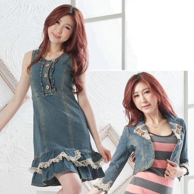 【RH】荷葉外套背心牛仔洋裝七分袖套組(單寧藍七分袖整套)促銷商品