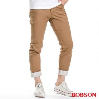 【BOBSON】男款褲口反褶九分褲(卡其1786-72)