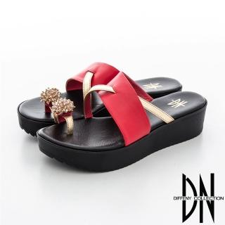 【DN】華麗饗宴 亮眼造型繡球皮飾指環拖鞋(紅)