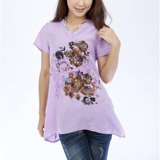 【Delicacy】手工訂製立體圖案輕涼柔感上衣(紫色)