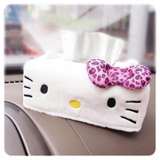 【享夢城堡】絨毛造型面紙盒(HELLO KITTY 豹紋-白)