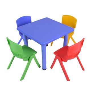 【WASHAMl】韓式撞色多彩兒童遊戲桌椅(一桌二椅-附學習圖案版)