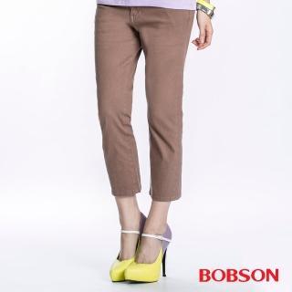 【BOBSON】女款高腰套染七分褲(卡其197-71)