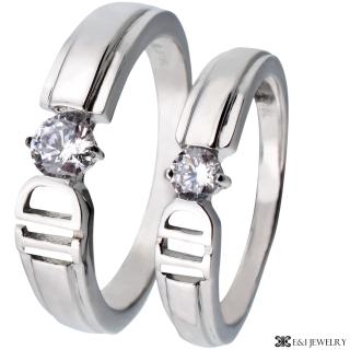 【E&I】-I DO- 316L白鋼時尚單鑽造型情侶對戒