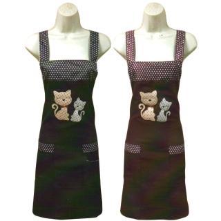 電繡兩隻貓圍裙/卡通熊貼布圍裙-4件入