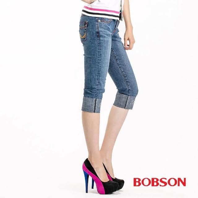 【BOBSON】女款雙色配線反摺7分牛仔褲(藍53)熱銷產品