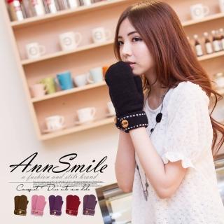 【微笑安安】毛絨內裡可愛縫線無指毛線手套(共6色)