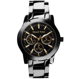 【Relax Time】時尚達人日曆顯示腕錶-金時標/IP黑/38mm(R0800-16-21B)