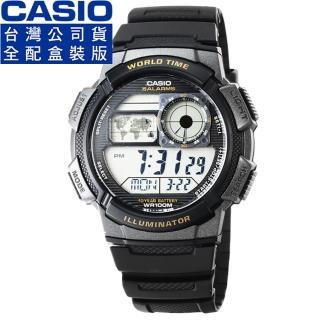 【CASIO】日系卡西歐多時區鬧鈴電子錶-黑(AE-1000W-1A 公司貨全配盒裝)