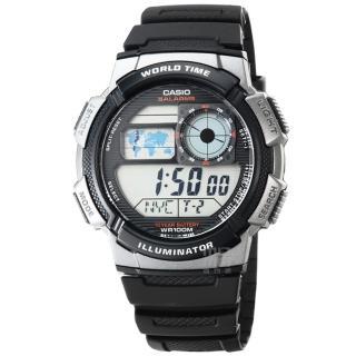 【CASIO】日系卡西歐多時區鬧鈴電子錶-黑(AE-1000W-1B 公司貨全配盒裝)